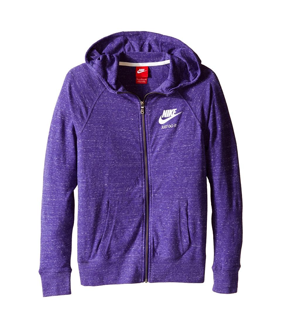 Nike Kids - Gym Vintage Full Zip Hoodie (Little Kids/Big Kids) (Court Purple/Sail) Girl's Sweatshirt