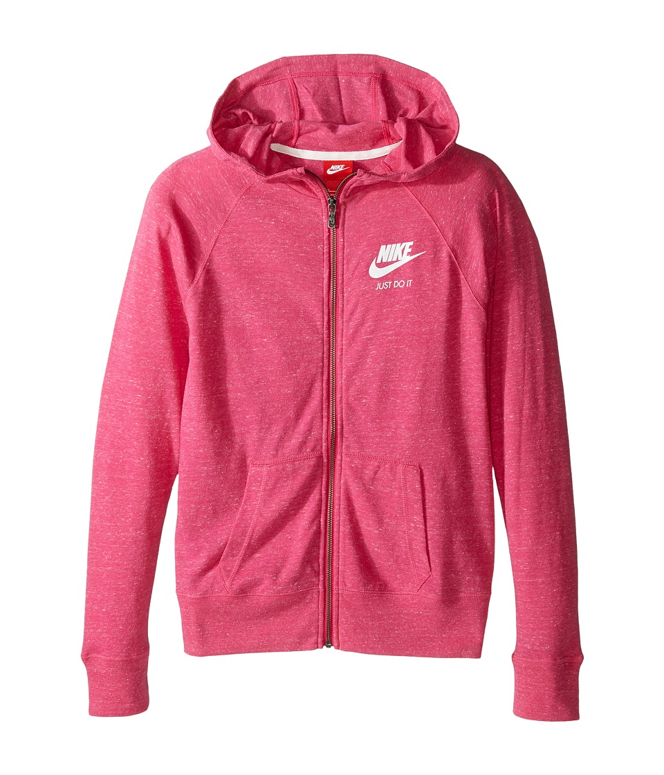 Nike Kids - Gym Vintage Full Zip Hoodie (Little Kids/Big Kids) (Vivid Pink/Sail) Girl's Sweatshirt