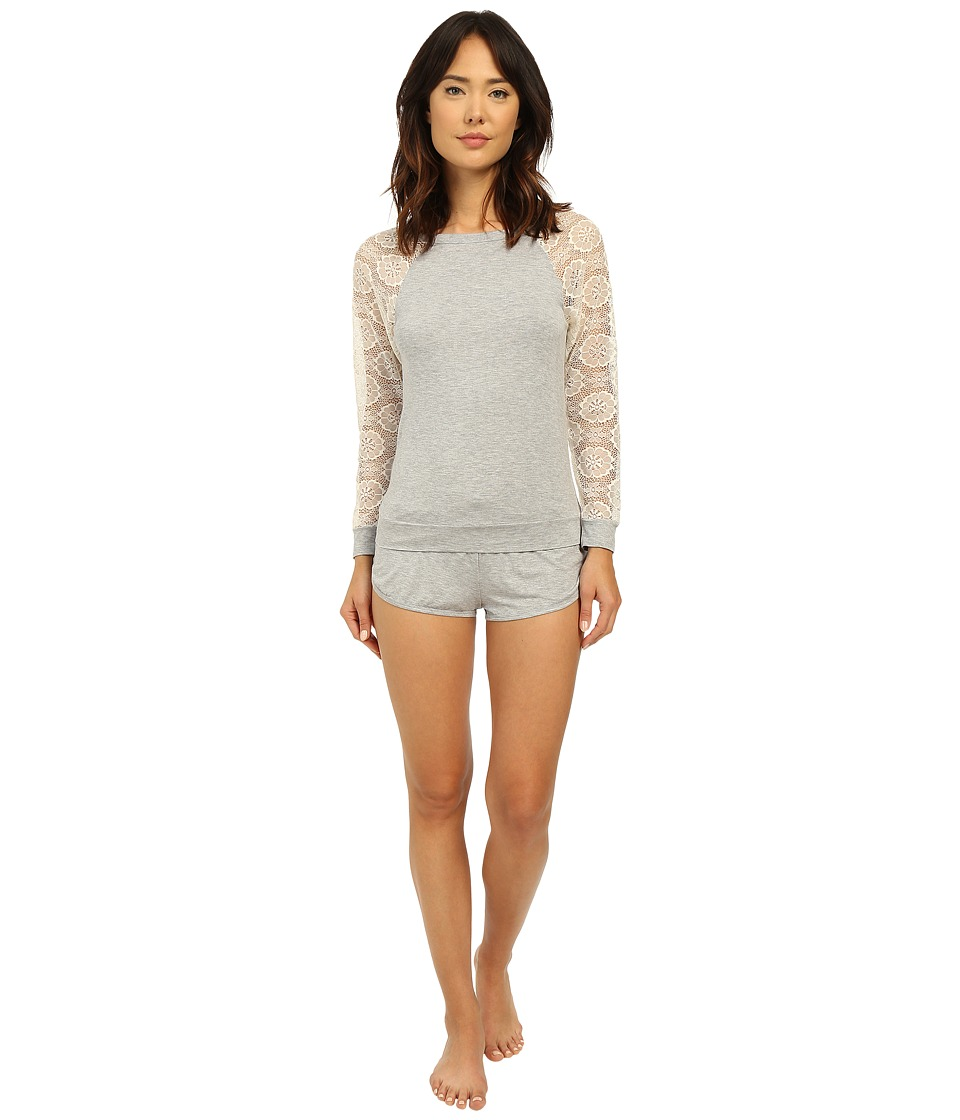 Betsey Johnson - Rayon Knit Lace Short Set (Heather Grey) Women's Pajama Sets