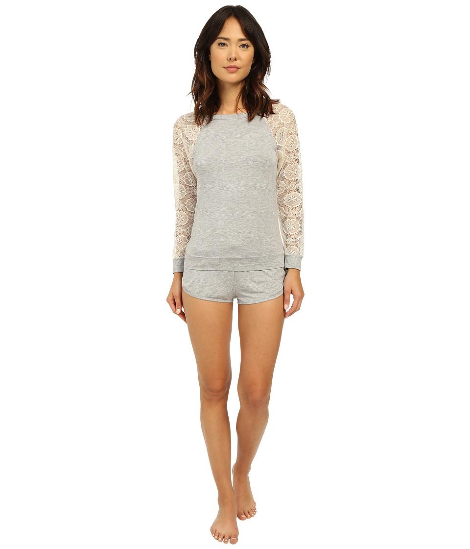 Betsey Johnson - Rayon Knit Lace Short Set (Heather Grey) Women's Pajama Sets