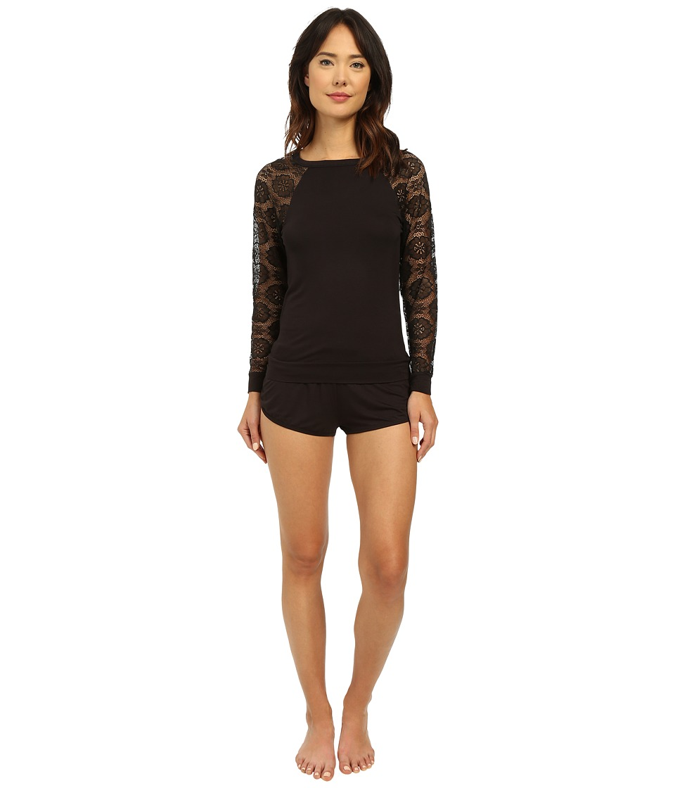 Betsey Johnson - Rayon Knit Lace Short Set (Raven Black) Women
