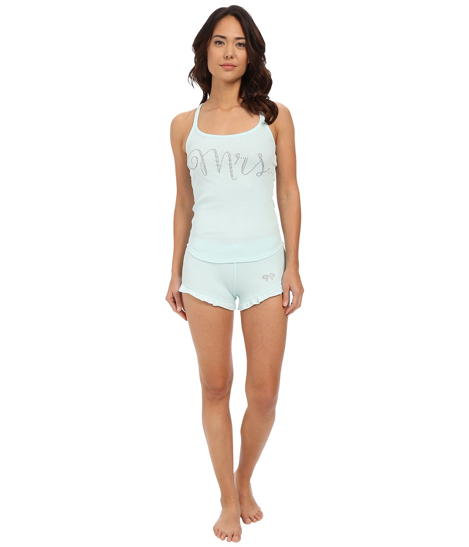 Betsey Johnson - Bridal Rib Graphic Short Set (Betty Blue Mrs.) Women's Pajama Sets