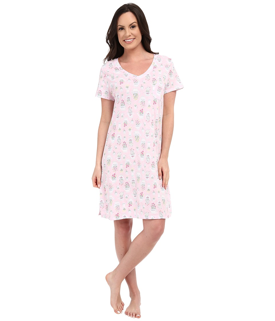 Carole Hochman - Cotton Printed Sleepshirt (Watering Flowers) Women's Pajama