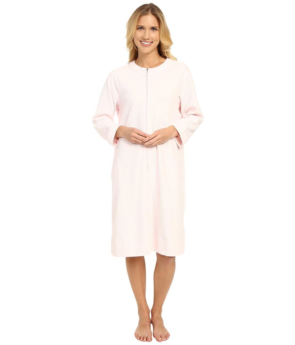 Carole Hochman - Short Waffle Knit Zip Robe (Pink) Women's Robe