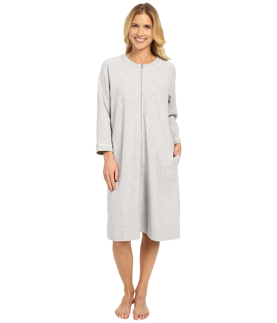 Carole Hochman - Short Waffle Knit Zip Robe (Grey Heather) Women's Robe