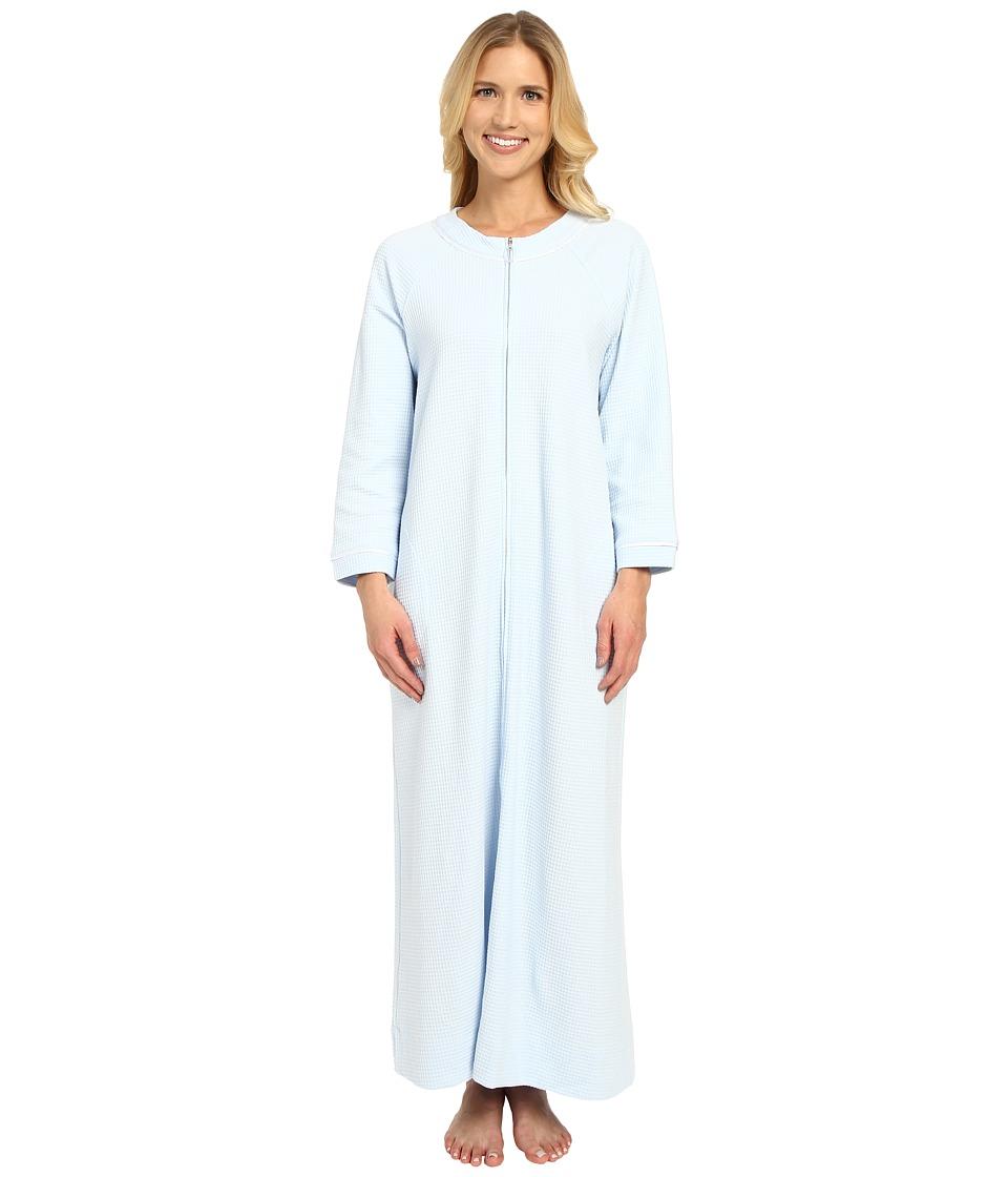 Carole Hochman - Waffle Knit Zip Robe (Blue) Women's Robe