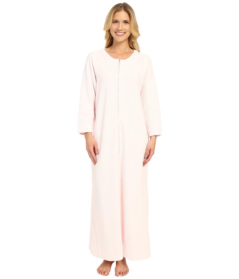Carole Hochman - Waffle Knit Zip Robe (Pink) Women's Robe