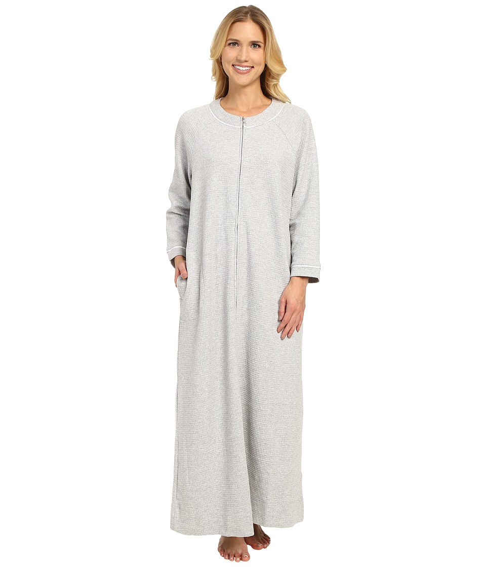 Carole Hochman - Waffle Knit Zip Robe (Grey Heather) Women's Robe