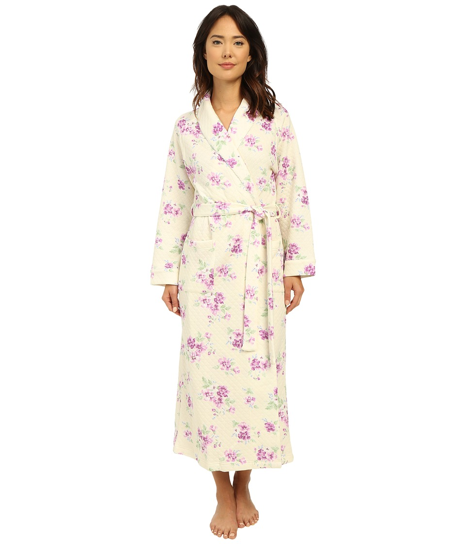 Carole Hochman - Diamond Quilt Floral Long Robe (Pansy) Women's Robe