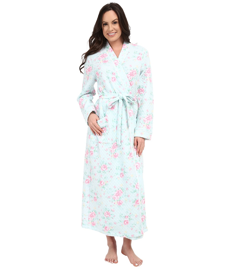 Carole Hochman - Diamond Quilt Long Robe (Cottage Blue) Women's Robe