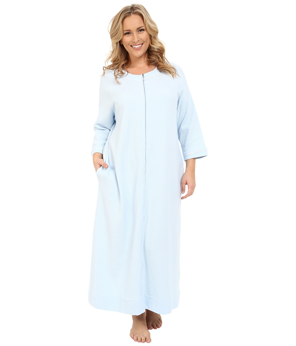 Carole Hochman - Plus Size Waffle Knit Zip Robe (Blue) Women's Robe