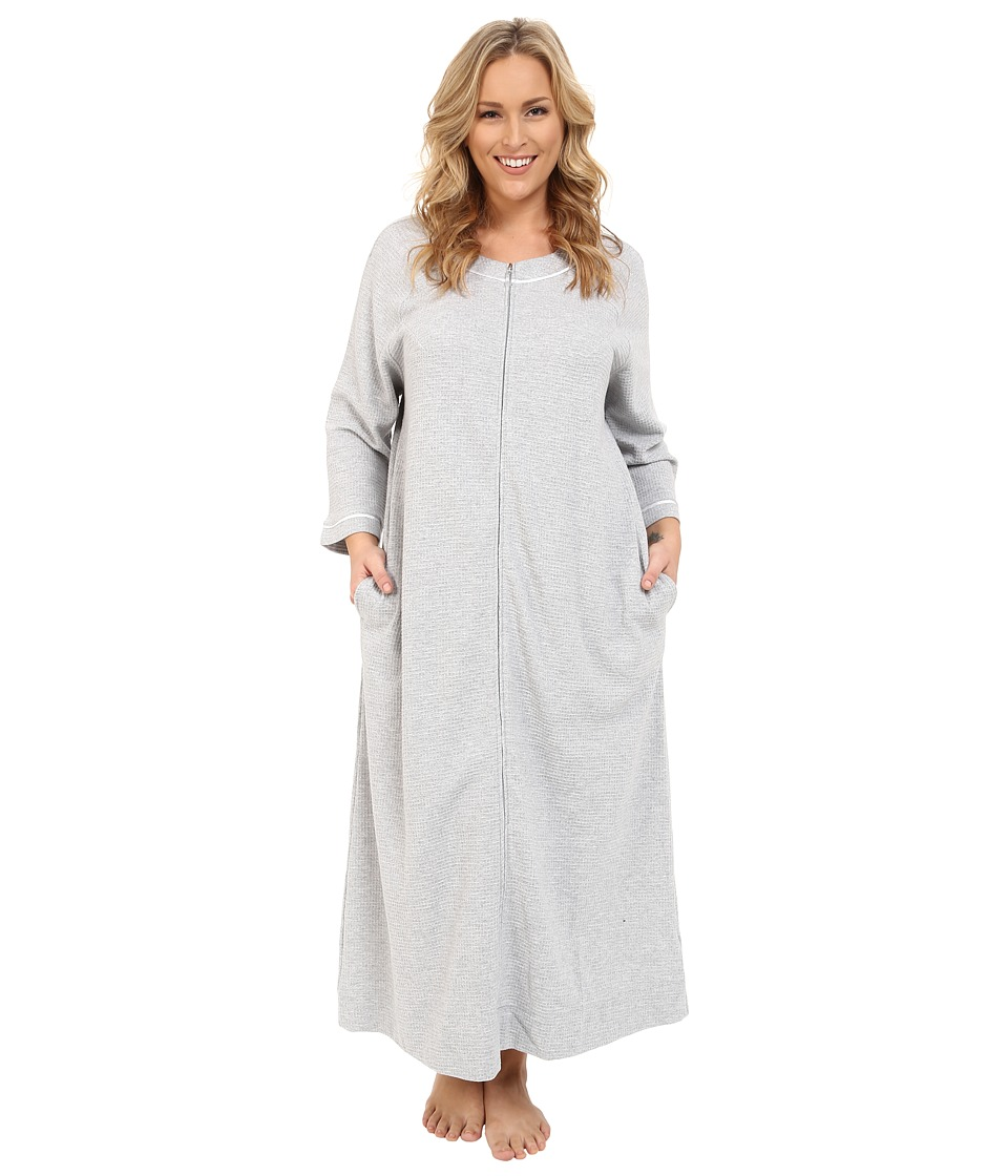 Carole Hochman - Plus Size Waffle Knit Zip Robe (Grey Heather) Women's Robe