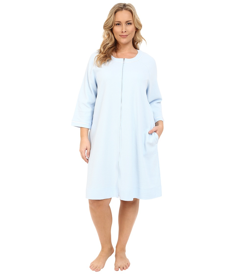 Carole Hochman - Plus Size Short Waffle Knit Zip Robe (Blue) Women's Robe