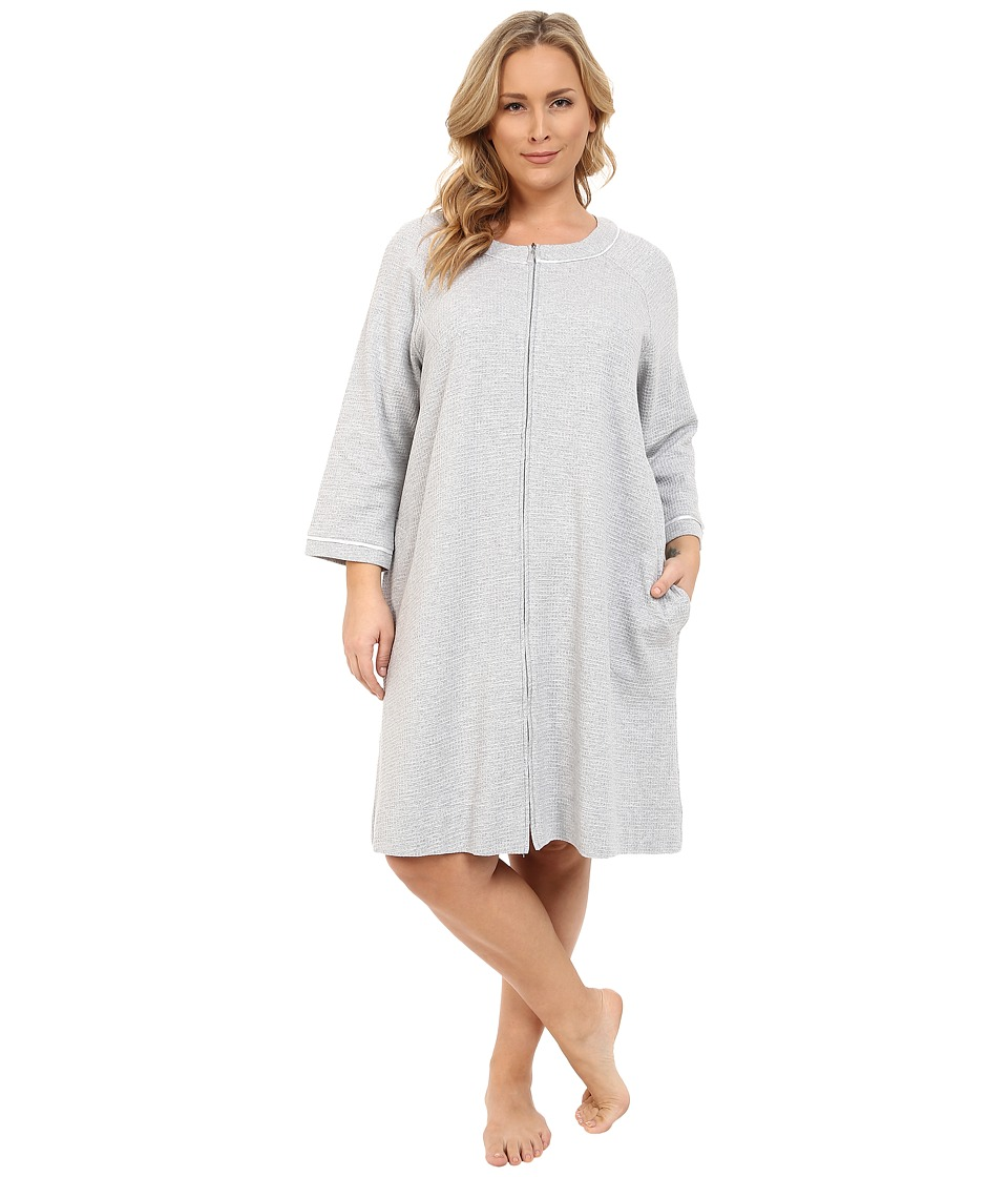 Carole Hochman - Plus Size Short Waffle Knit Zip Robe (Grey Heather) Women's Robe