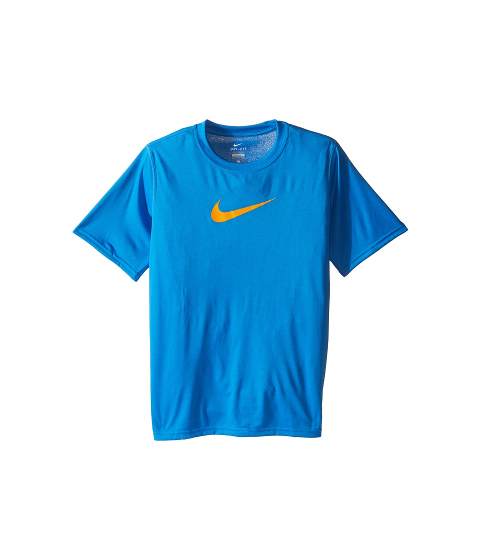 Nike Kids - Essentials Legend S/S Top (Little Kids/Big Kids) (Light Photo Blue/Vivid Orange) Boy's Workout