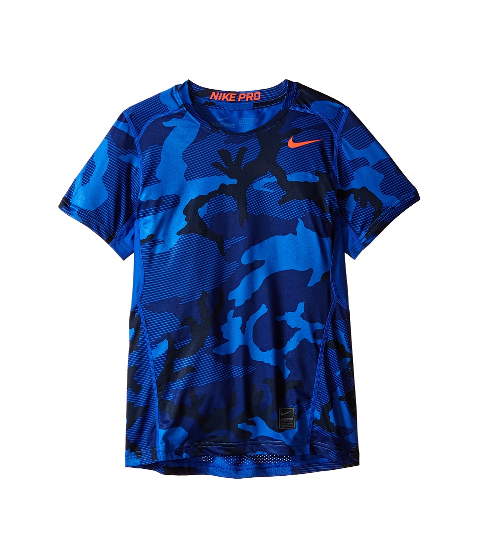 Nike Kids - Pro Hypercool Allover Print Shirt (Little Kids/Big Kids) (Deep Royal Blue/Obsidian/Bright Crimson) Boy's Clothing