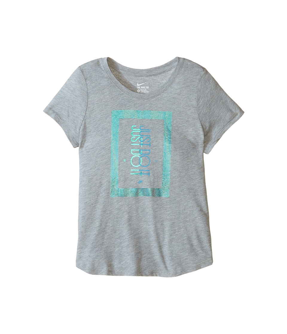 Nike Kids - Frequency Just Do It T-Shirt (Little Kids/Big Kids) (Dark Grey Heather/Rio Teal) Girl's T Shirt