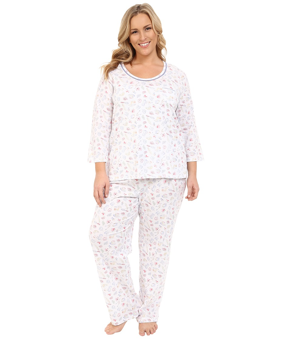 Carole Hochman - Plus Size Cotton Novelty Printed Long Pajama (Rise/Shine) Women's Pajama Sets