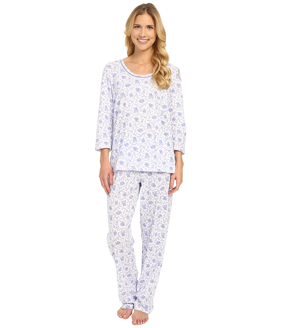 Carole Hochman - Cotton Novelty Printed Long Pajama (Lattice) Women's Pajama Sets