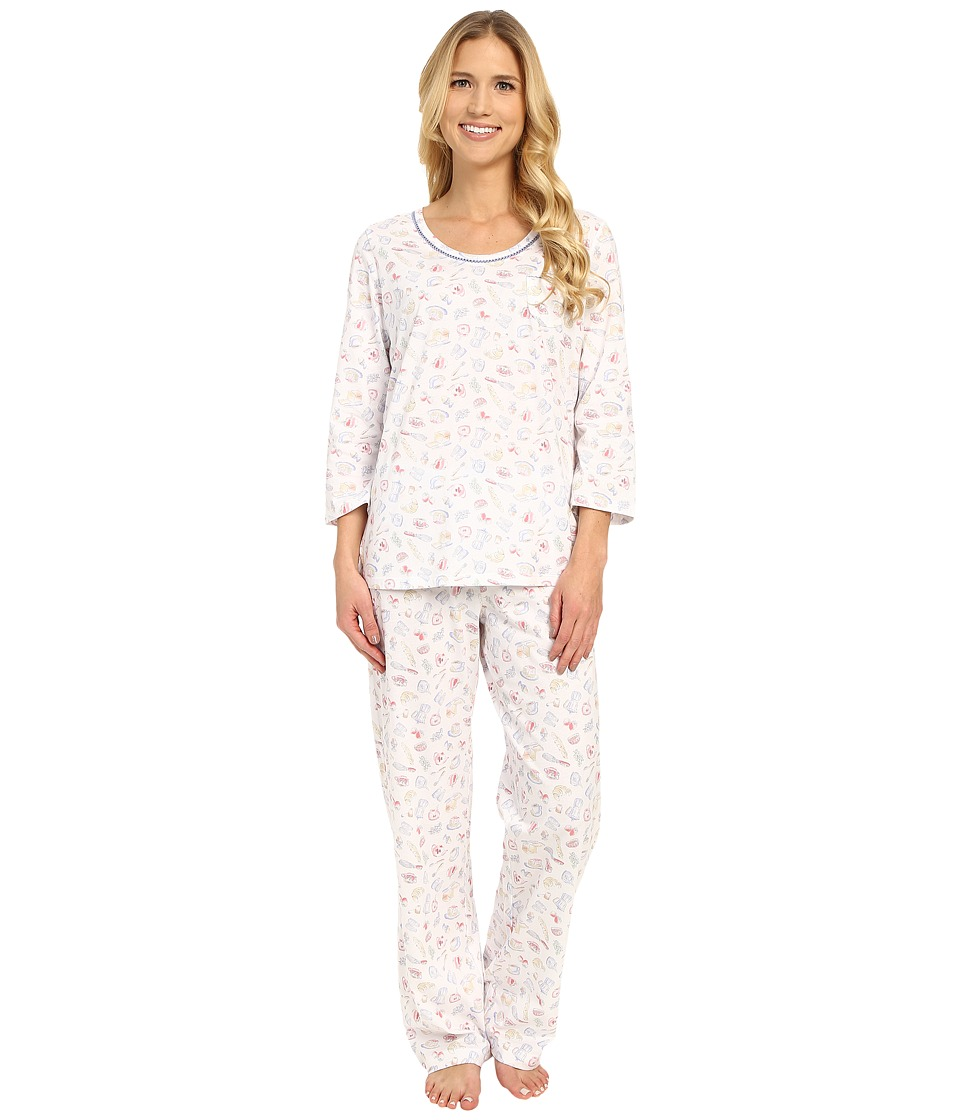 Carole Hochman - Cotton Novelty Printed Long Pajama (Rise/Shine) Women's Pajama Sets
