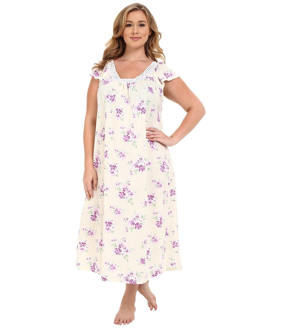 Carole Hochman - Plus Size Long Gown with Dot Trim (Pansy) Women's Pajama