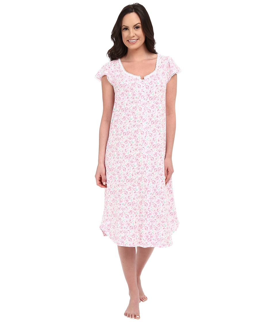 Carole Hochman - Rose Print Long Gown (Rose) Women's Pajama