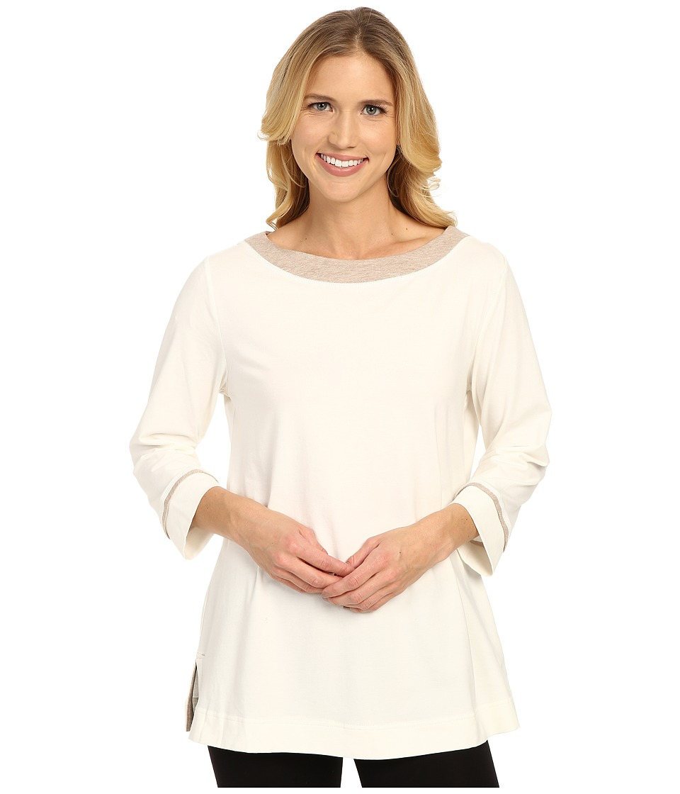 Carole Hochman - Cozy Jersey Top (Ivory/Pale Mocha Heather) Women's Pajama