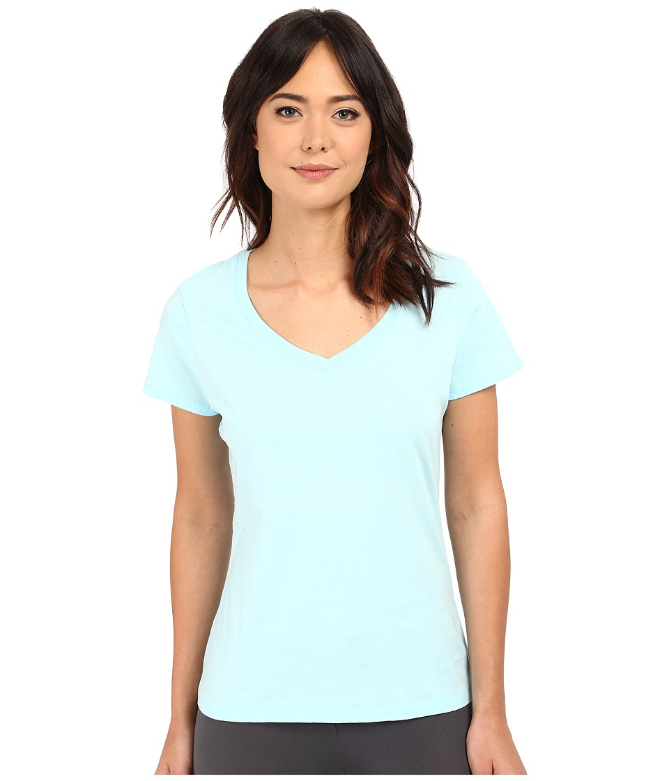 Jockey - Jockey Cotton Essentials V-Neck Tee (Surf Blue) Women's Pajama