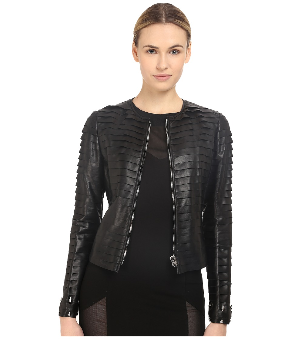 Philipp Plein - Layered Element Leather Jacket (Black) Women's Coat
