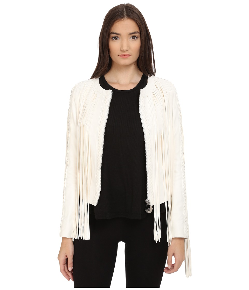 Philipp Plein - Fringe Tribute Leather Jacket (White) Women's Coat
