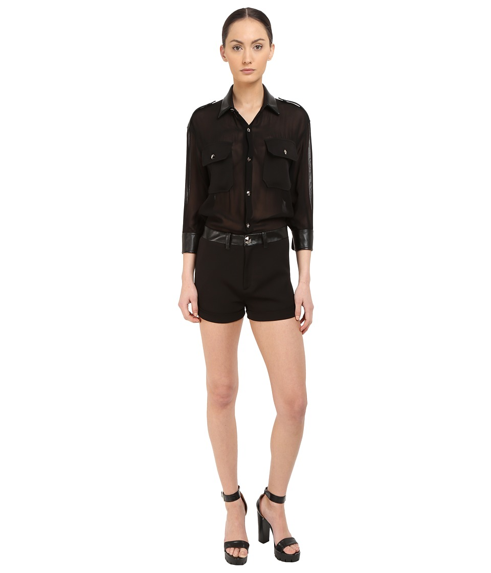 Philipp Plein - You Are Here Sheer Romper (Black) Women's Jumpsuit & Rompers One Piece