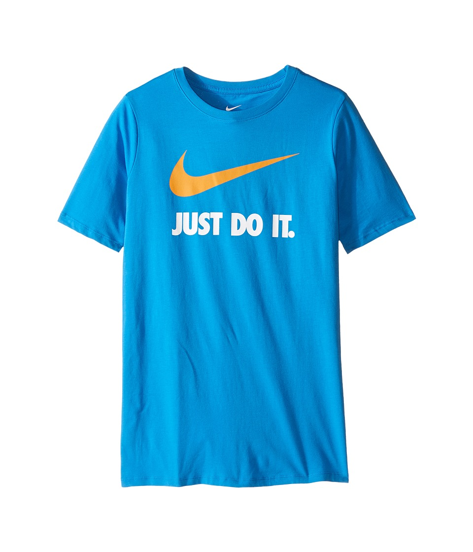 Nike Kids - JDI Swoosh Tee (Little Kids/Big Kids) (Light Photo Blue/Vivid Orange) Boy's T Shirt