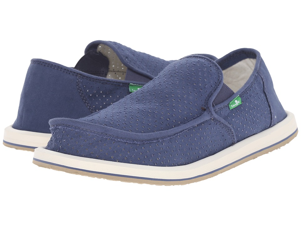 Sanuk - Vagabond Perf (Blue) Men's Slip on Shoes