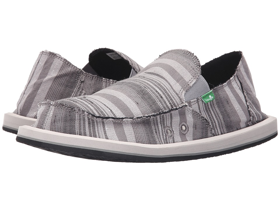 Sanuk - Donny (Grey Vintage Denim Stripe) Men's Slip on Shoes