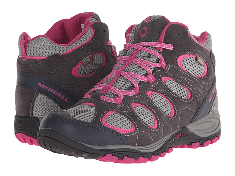 Merrell Kids - Hilltop Ventilator Mid (Little Kid/Big Kid) (Grey/Pink) Girl