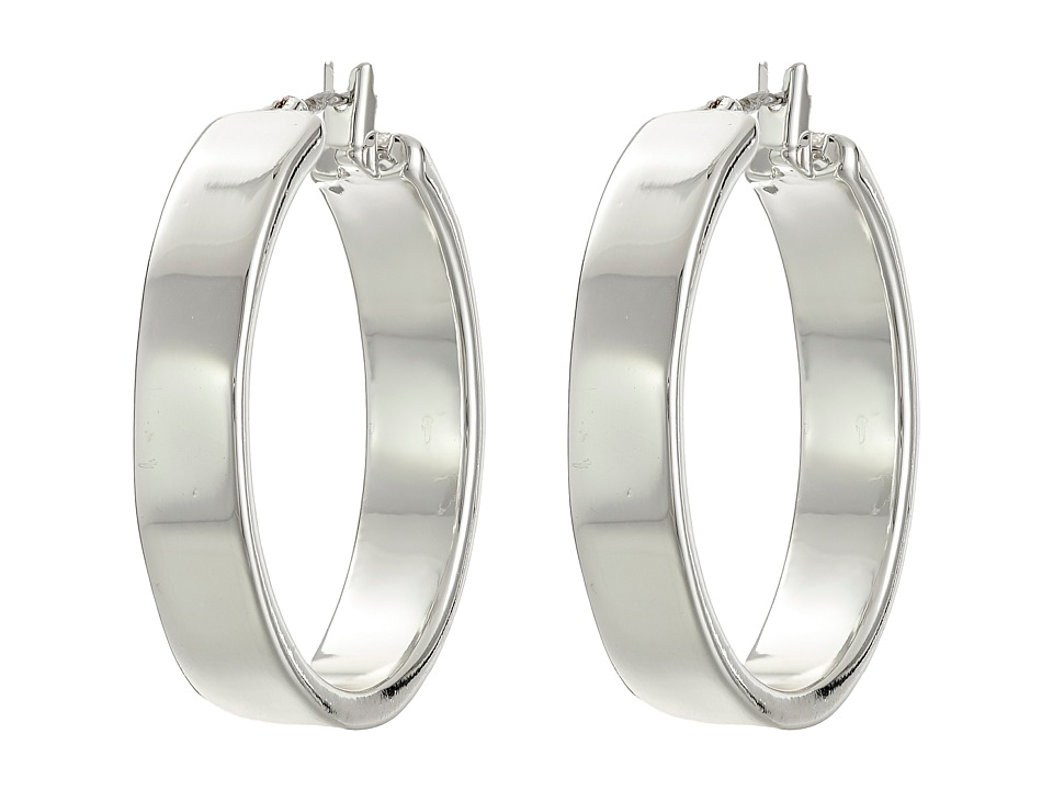 LAUREN by Ralph Lauren - Downtown Chic Large Metal Click-It Hoop Earrings (Silver) Earring