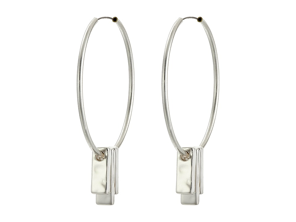 LAUREN by Ralph Lauren - Downtown Chic Medium Hoop Earrings w/ Bar Drops (Silver) Earring