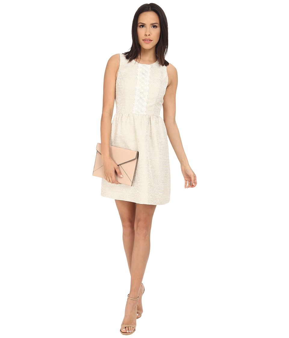 kensie Slubby Jacquard Dress KS2K7848 (Ivory Combo) Women