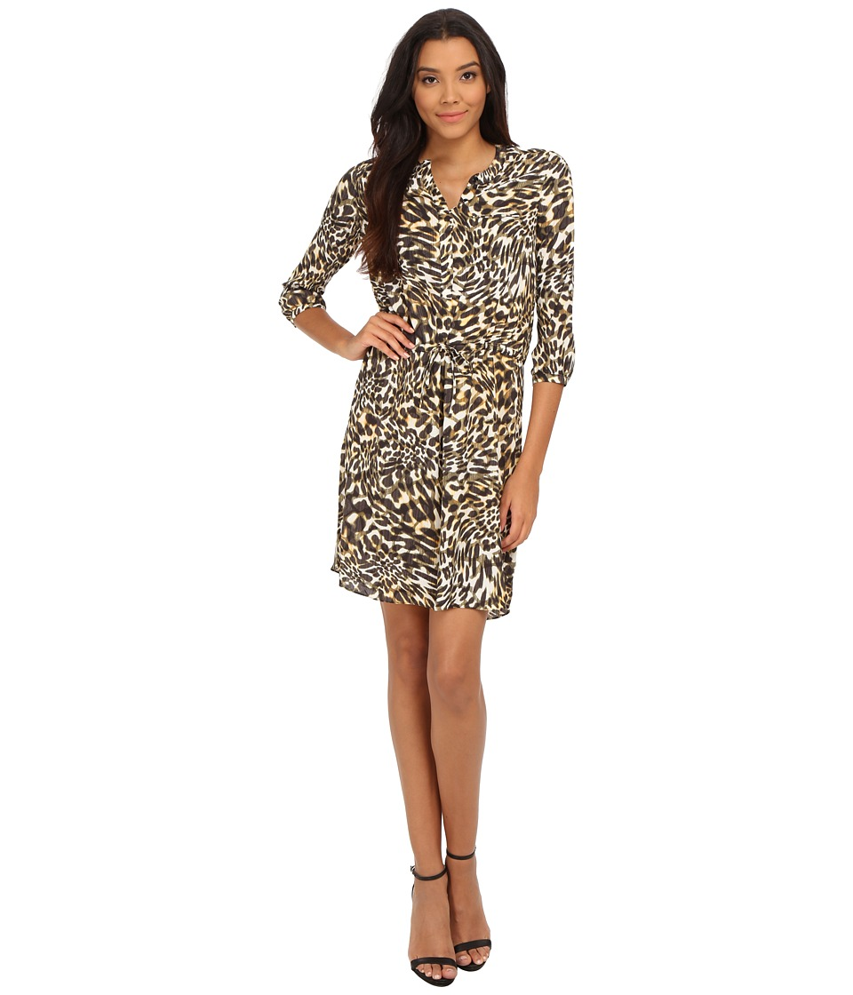 NYDJ - Lauren PLeat Back Dress (Cheetah Vanilla) Women's Dress