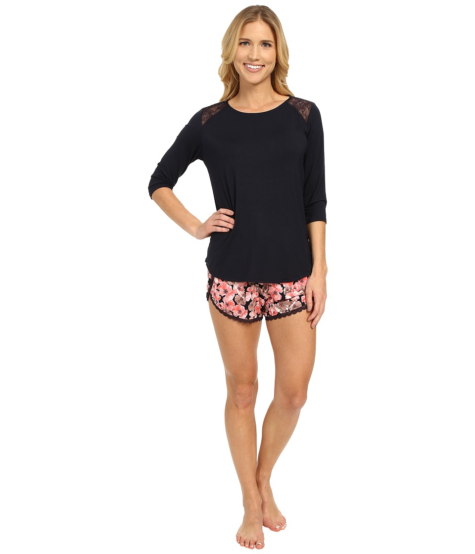 Midnight by Carole Hochman - Modal Shorty Pajama with Lace (Poppies) Women's Pajama Sets