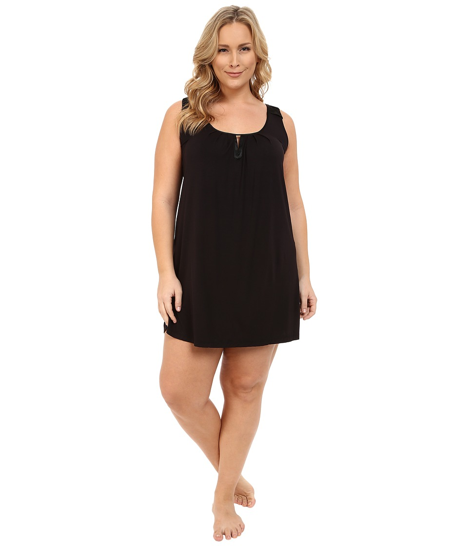 Midnight by Carole Hochman - Plus Size Modal Chemise with Satin (Black) Women's Pajama