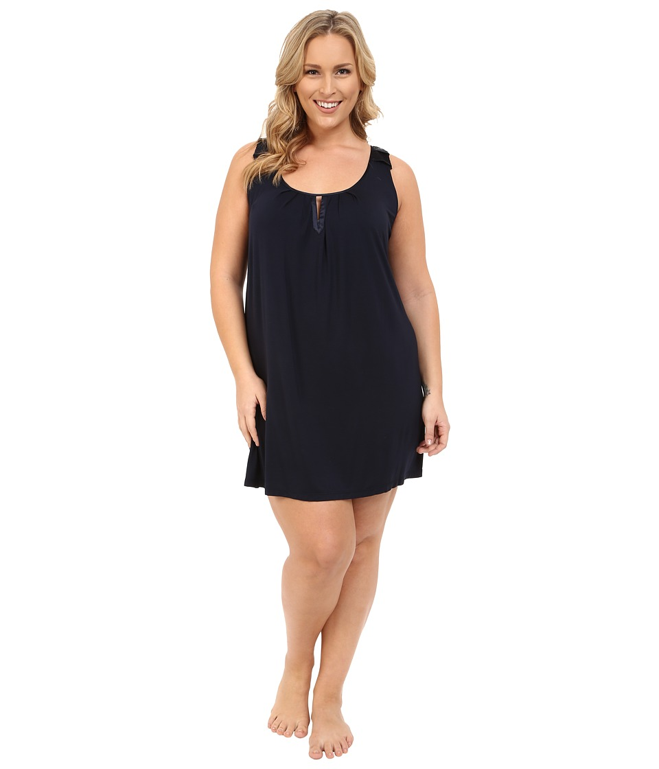 Midnight by Carole Hochman - Plus Size Modal Chemise with Satin (Midnight) Women's Pajama