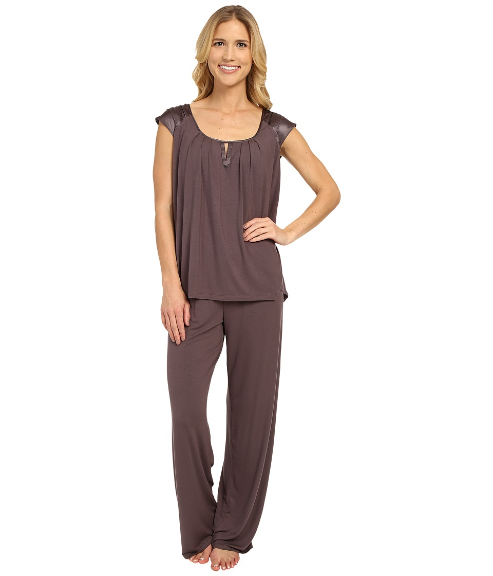 Midnight by Carole Hochman - Modal Short Sleeve Pajama with Satin (Sweet Truffle) Women's Pajama Sets