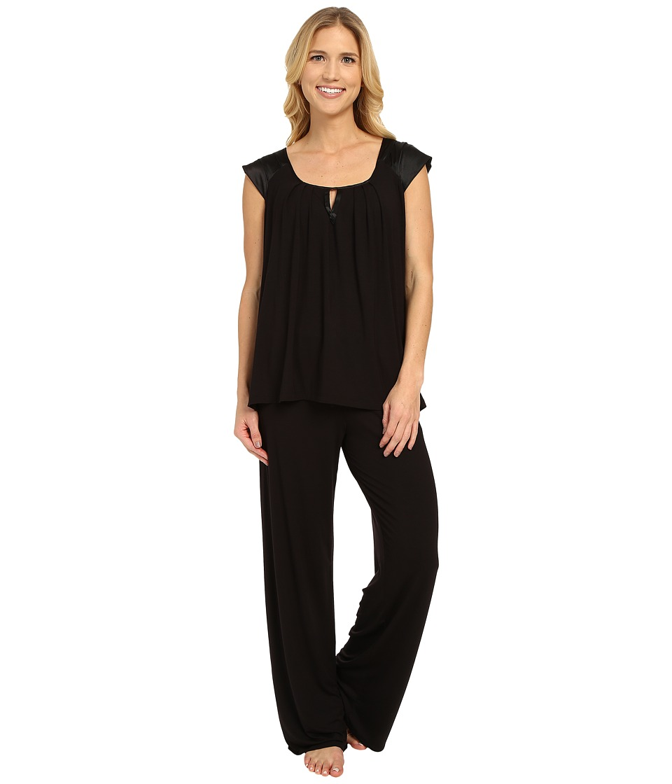 Midnight by Carole Hochman - Modal Short Sleeve Pajama with Satin (Black) Women's Pajama Sets