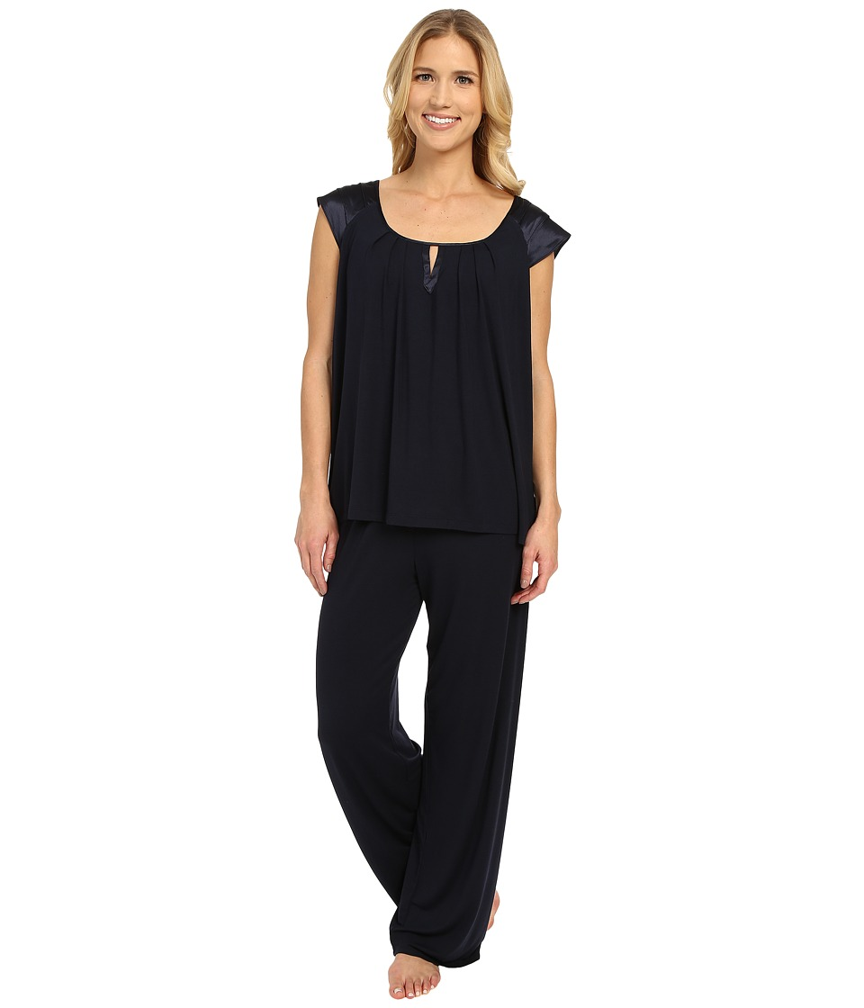 Midnight by Carole Hochman - Modal Short Sleeve Pajama with Satin (Midnight) Women's Pajama Sets