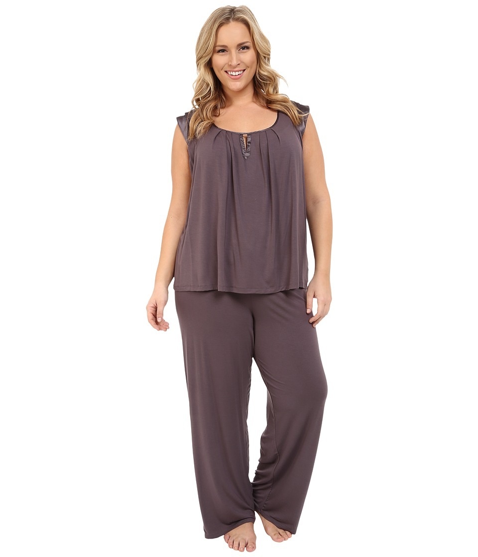 Midnight by Carole Hochman - Plus Size Modal Short Sleeve Pajama with Satin (Sweet Truffle) Women's Pajama Sets