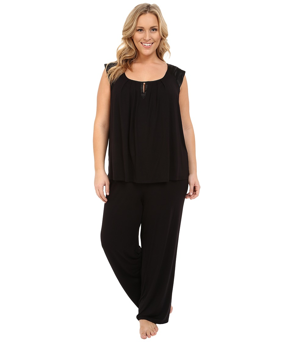 Midnight by Carole Hochman - Plus Size Modal Short Sleeve Pajama with Satin (Black) Women's Pajama Sets