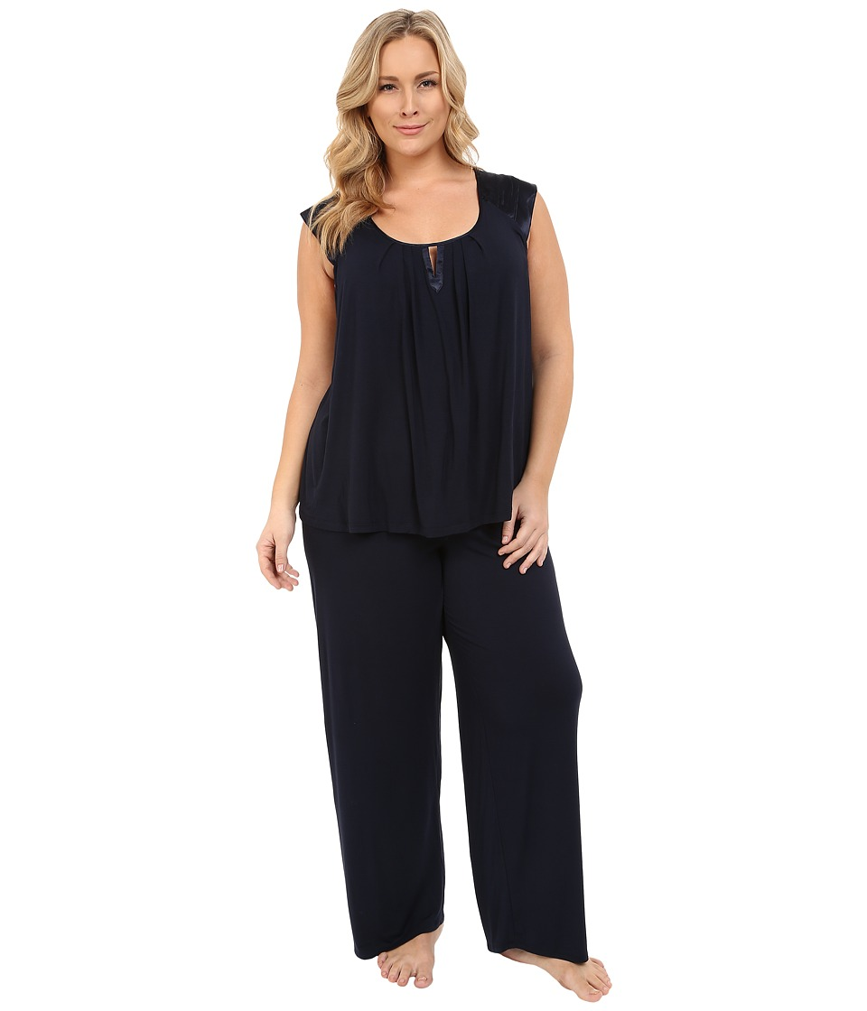 Midnight by Carole Hochman - Plus Size Modal Short Sleeve Pajama with Satin (Midnight) Women's Pajama Sets