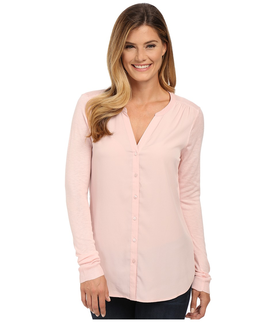 NYDJ - Woven Sweater Combo Cardigan (Peach Skin) Women's Sweater