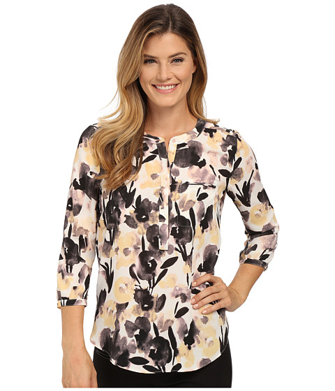 NYDJ - Solid 3/4 Sleeve Pleat Back (Nostalgic Petal Peach Skin) Women